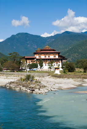Two rivers become one near the Punakha Dzong in Bhutan